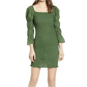 J.O.A green smocked, fitted long sleeve dress - M